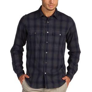 Theory Navy Blue Gray Klippe Plaid Casual Shirt